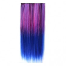 Ombre Colorful Clip in Hair Straight 04# Rosy/Blue 1 Piece