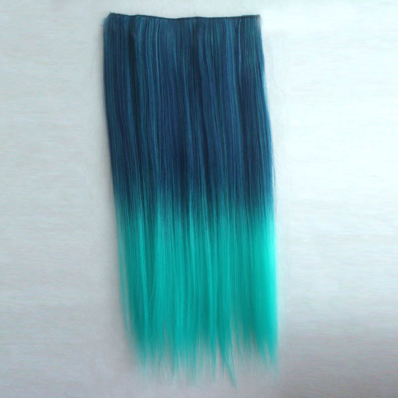 Ombre Colorful Clip in Hair Straight 08# Blue/Peacock Green 1 Piece