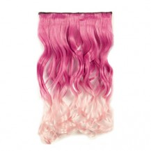 Ombre Colorful Clip in Hair Wavy 07# Rosy/Pink White 1 Piece
