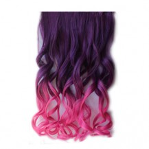 Ombre Colorful Clip in Hair Wavy 10# Purple/Rosy 1 Piece