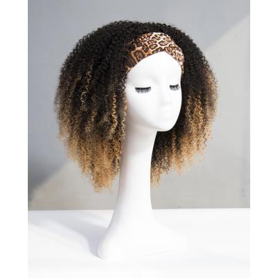 Ombre Kinky Curly Headband Wigs 180% Density #1b/27