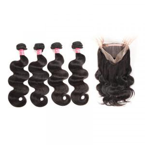 Peruvian Body Wave Hair 4 Bundles With 360 Lace Frontal Closure