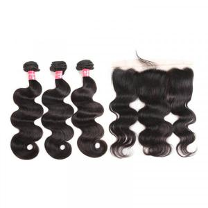 Peruvian Body Wave Hair Bundles With 13x4 Lace Frontal Closure