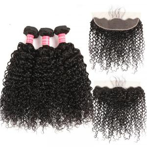 Peruvian Curly Hair 3 Bundles With Lace Frontal Closure With Baby Hair