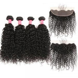 Peruvian Curly Hair 4 Bundles With 13x4 Lace Frontal With Baby Hair