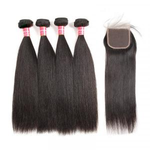 Peruvian Hair Bundles Straight Wavy Human Hair Weave With Lace Closure