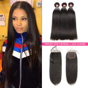 Peruvian Straight Wavy Hair Bundles With 3 Part Closure
