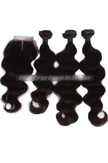 10-30 Inch Body Wave Peruvian Virgin Hair A Lace Closure With 3 Bundles Deal