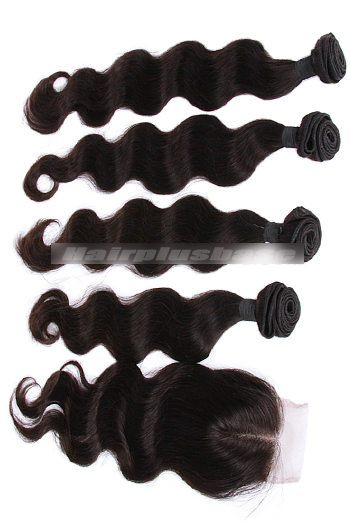 10-30 Inch Body Wave Peruvian Virgin Hair A Lace Closure With 4 Bundles Deal