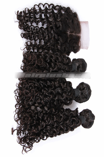 10-30 Inch Candy Curl 7A Virgin Hair A Lace Closure With 3 Bundles Deal