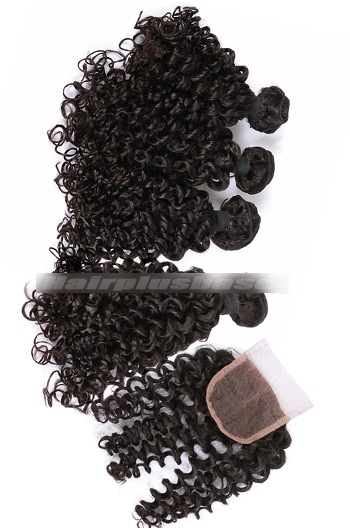 8-30 Inch Candy Curl Peruvian Virgin Hair A Lace Closure With 4 Bundles Deal