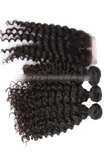 10-30 Inch Deep Wave Peruvian Virgin Hair A Lace Closure With 3 Bundles Deal