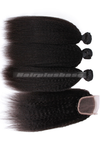 8-30 Inch Kinky Straight 7A Virgin Hair A Lace Closure With 3 Bundles Deal