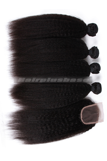 8-30 Inch Kinky Straight 7A Virgin Hair A Lace Closure With 4 Bundles Deal
