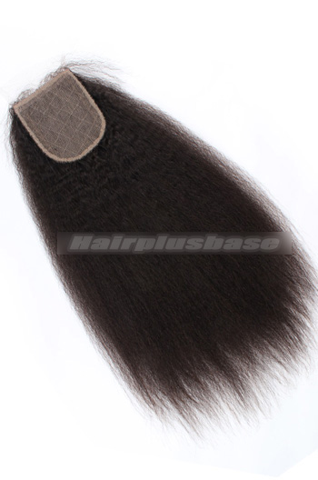 Kinky Straight Peruvian Virgin Hair Silk Base Closure 4x4 Inch