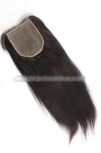 Yaki Straight Peruvian Virgin Hair Silk Base Closure 4*4 Inches