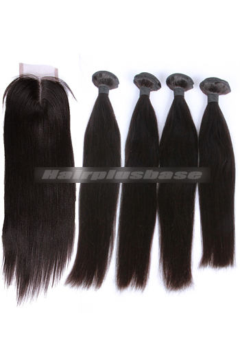 10-30 Inch Silky Straight 7A Virgin Hair A Lace Closure With 4 Bundles Deal