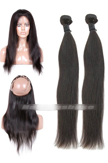 Natural Straight Peruvian Virgin Hair 360°Circular Lace Frontal with 2 Weaves Bundles Deal