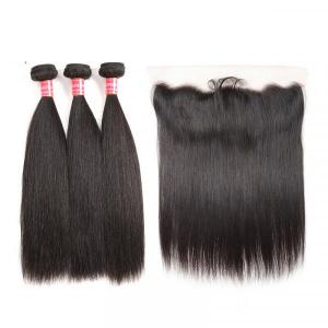 Peruvian Virgin Hair Straight Bundles With 13*4 Lace Frontal