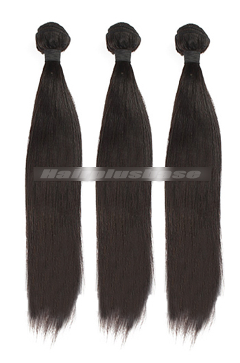 10-30 Inch 7A Virgin Hair Natural Color Light Yaki Hair Extension 3 Bundles Deal