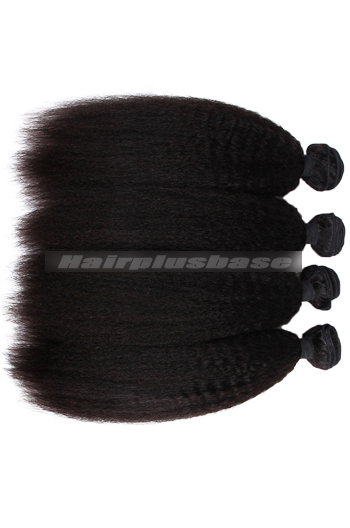 8-30 Inch Kinky Straight Peruvian Virgin Hair Weaves 4 Bundles Deal
