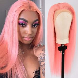 Pink Straight Lace Front Wigs 150%-200% Density 100% Human Hair For Women