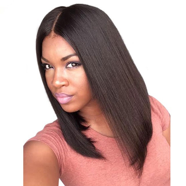 Pre Plucked 360 Lace Wigs Yaki Straight Bob Wig,150% Density, Indian Remy Hair Short Bob Wig
