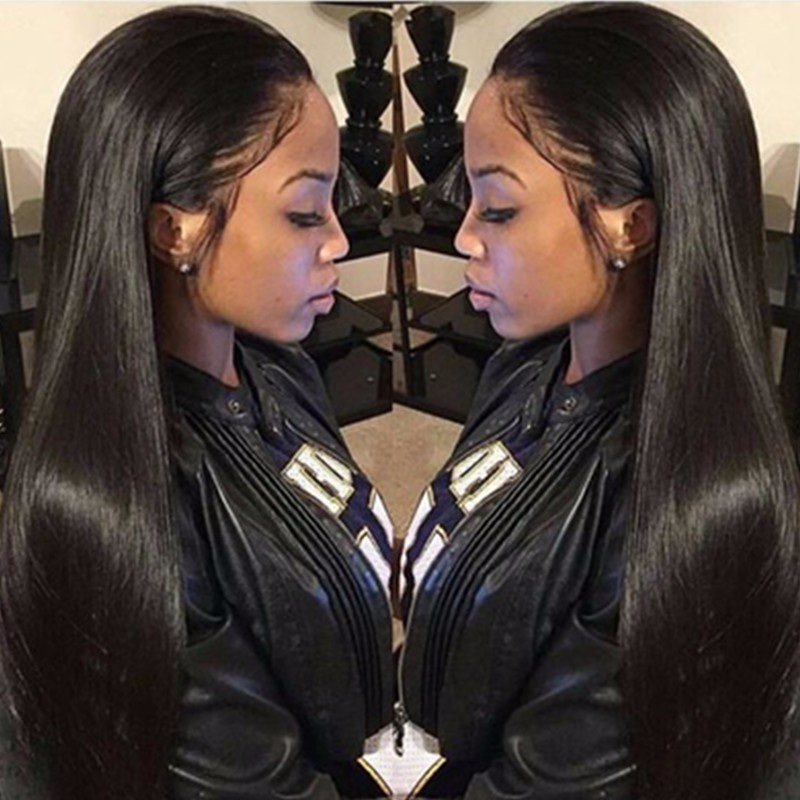 Pre Plucked Hairline Glueless Full Lace Wigs Indian Remy Hair Light Natural Straight, Pre Bleached