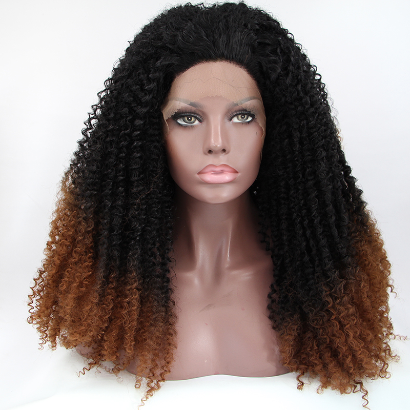 Premium Afro Kinky Curly Synthetic Lace Front Wigs For Black Woman