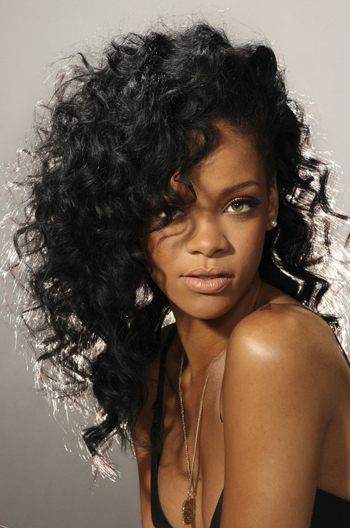 Rihanna Fashion Hairstyle Long Curly Brazilian Virgin Hair Full Lace Wigs