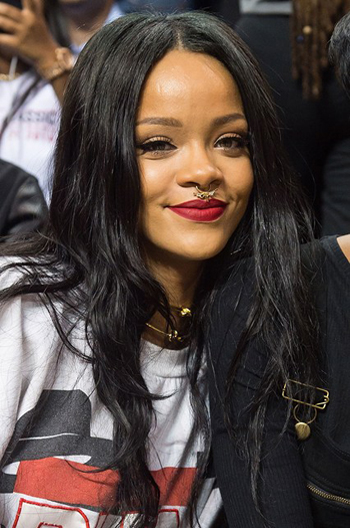 Rihanna Long Style Black Straight Human Hair Celebrity Lace Wigs 22 Inch