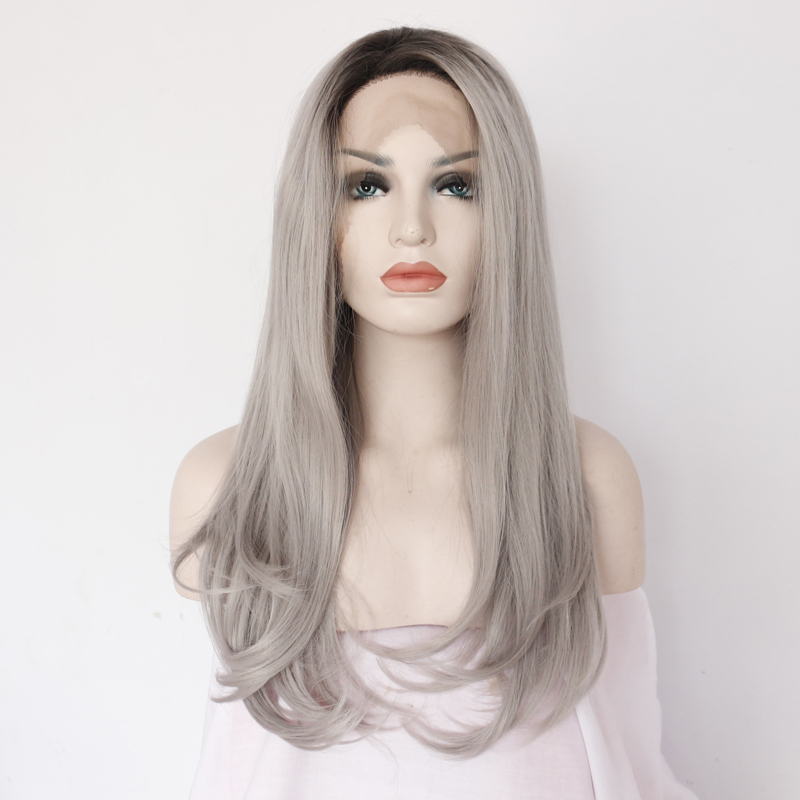 Sexy Glueless Silver Grey Natural Wavy Lace Front Wig
