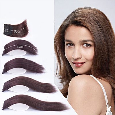 """Short Human Hair Extensions Clip in Wiglet Hair Piece for Women and Men 4"""" Straight Crown Hairpieces"""