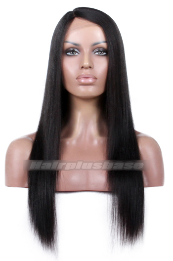 Yaki Straight Natural Looking Indian Remy Hair Side Part Glueless Silk Part Lace Wigs