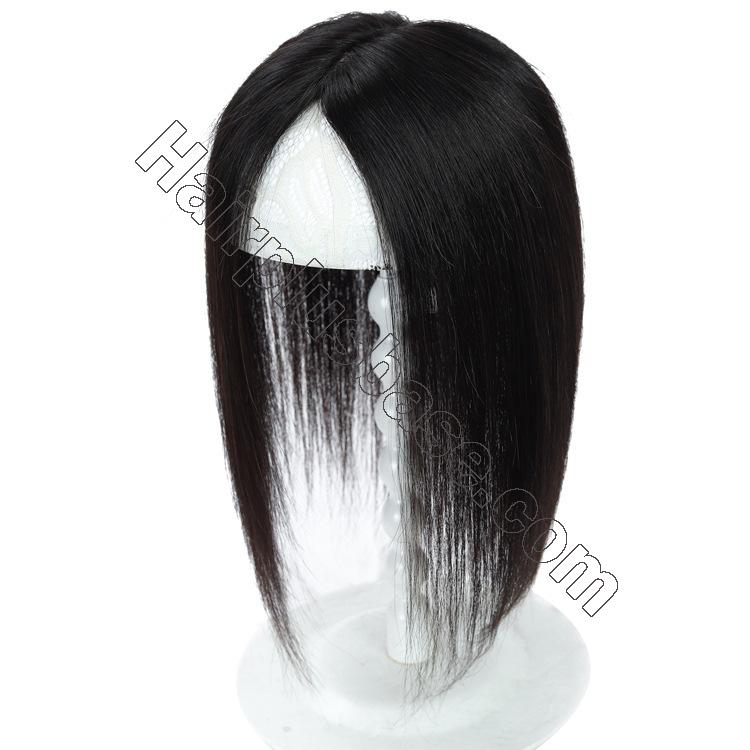 Silk Parline Base Hair Topper Pieces, Real Hair Toppers for Hair Loss or Thinning Hair 4