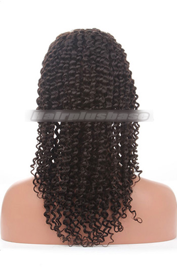 18 Inch #1B Black Deep Curl Indian Remy Hair Silk Top Full Lace Wigs