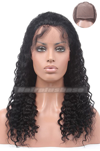 18 Inch #1b Black Deep Wave Indian Remy Hair Silk Top Full Lace Wigs