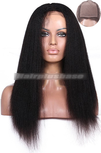 18 Inch Kinky Straight Indian Remy Hair Silk Top Full Lace Wigs