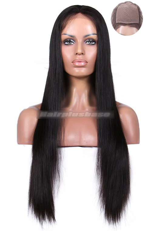 24 Inch Silky Straight Indian Remy Hair Silk Top Full Lace Wigs