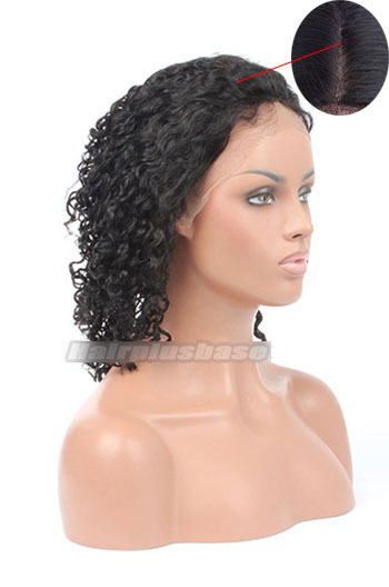 Silk Top Glueless Lace Front Wigs Indian Remy Hair 10mm Curly