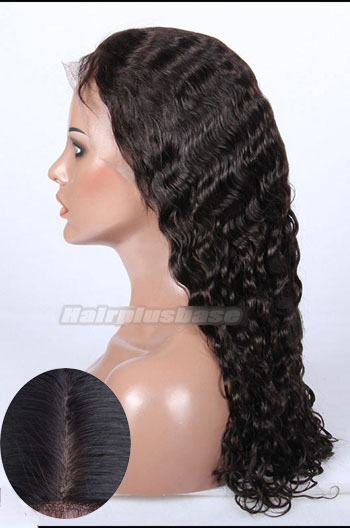22 Inch Indian Remy Hair Brazilian Curl Silk Top Glueless Lace Front Wigs