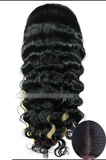 18 Inch Indian Remy Hair Deep Body Wave Silk Top Glueless Lace Front Wigs