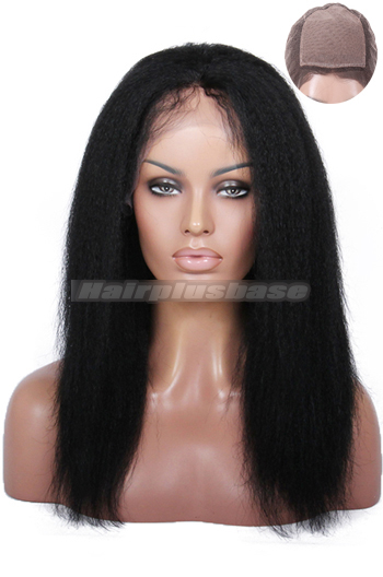 14 Inch Indian Remy Hair Italian Yaki Silk Top Glueless Lace Front Wigs