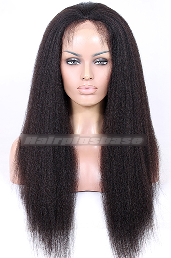 22 Inch Indian Remy Hair Kinky Straight Silk Top Glueless Lace Front Wigs