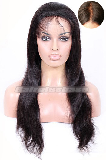 20 Inch Indian Remy Hair Natural Straight Silk Top Glueless Lace Front Wigs
