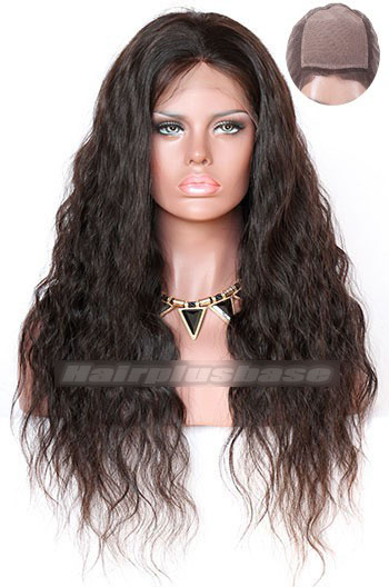 22 Inch Indian Remy Hair Natural Wave Silk Top Glueless Lace Front Wigs