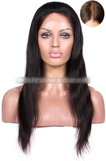 18 Inch Indian Remy Hair Silky Straight Silk Top Glueless Lace Front Wigs
