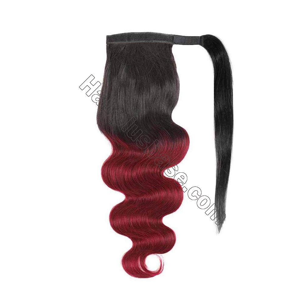 14 - 32 Inch Ombre Body Wave Human Hair Ponytail Wrap Around Ponytail Extensions #1B/Light 99J