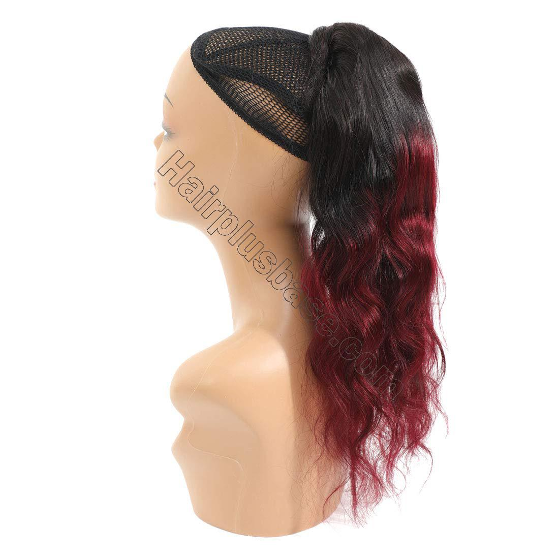14 - 32 Inch Ombre Body Wave Human Hair Ponytail Wrap Around Ponytail Extensions #1B/Light 99J no 3