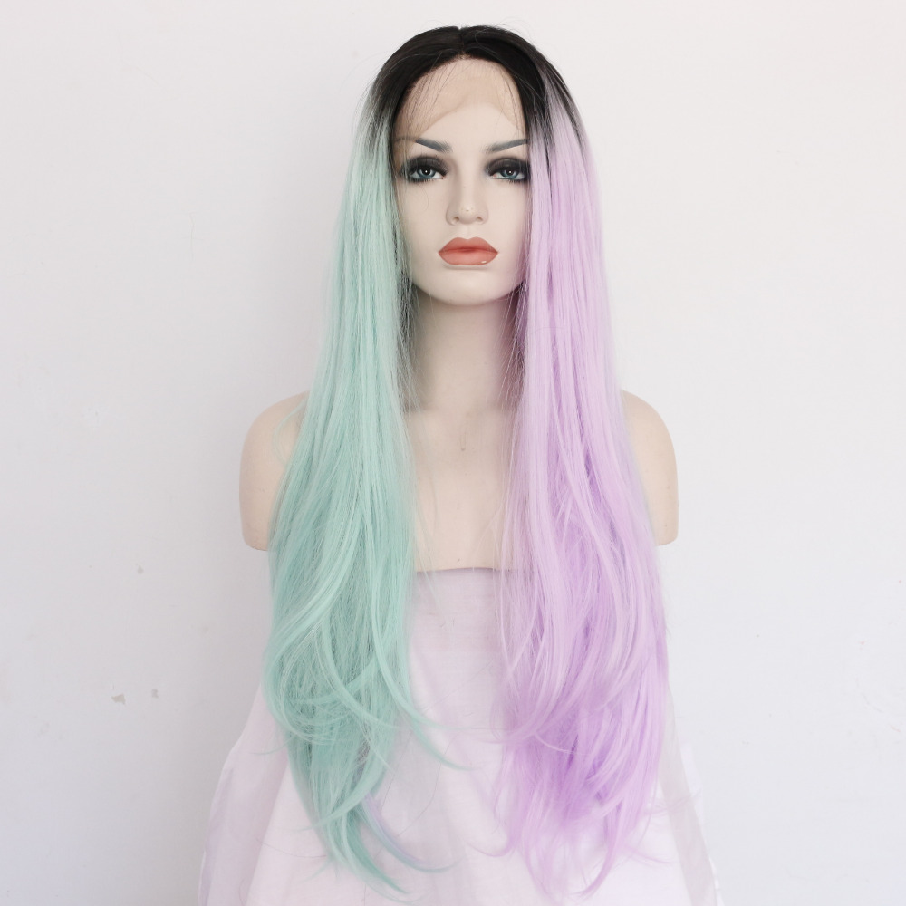 Straight Colorful Three Tones Ombre Lace Front Wigs
